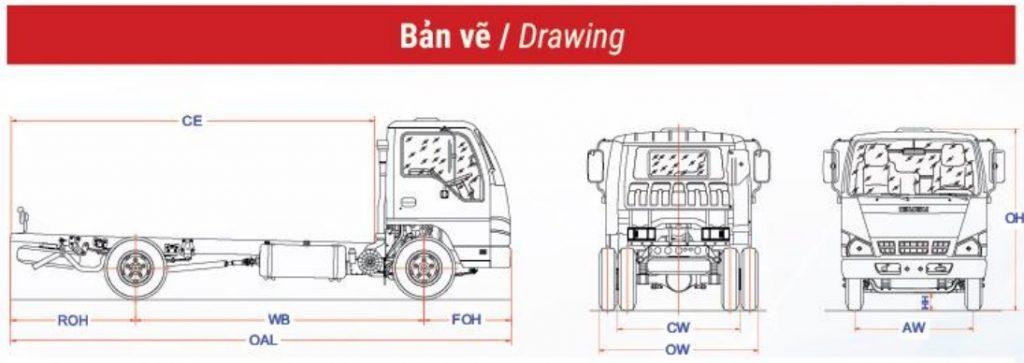 ban ve xe tải Isuzu QKRFE4A cabin sắt xi